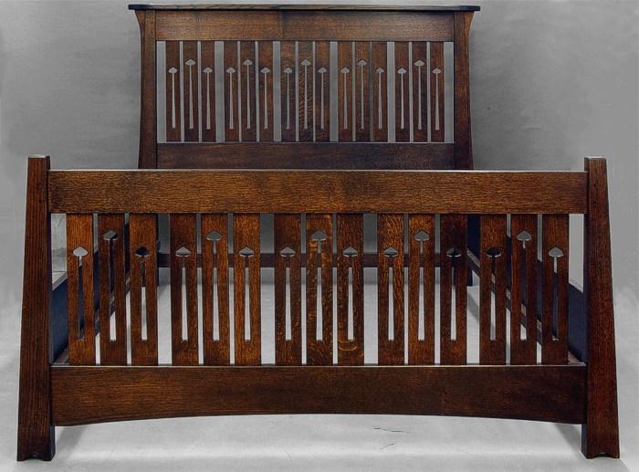 Arts And Crafts Mackintosh Bed Queen Quartersawn Oak Ebay